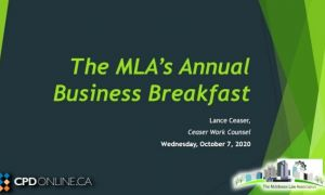 MLA Business Breakfast: Employment and Labour Law Update; Tax Update