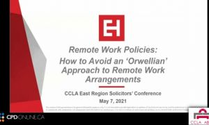 Employment: Policies on Remote Work; Advising Clients During the Pandemic: Common Issues in the Workplace; Case Comment: Waksdale v Swegon North America, 2020 ONCA 391; Severance Obligations Following a Purchase and Sale Case Comment: Manthadi v. ASCO Man